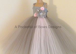 Silver Gray and Pink Flower Girl Tutu Dress Ball Gown