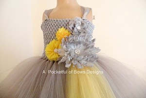 Silver and Yellow Flower Girl Dress with Tulle Skirt