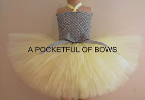 Yellow and Silver Tutu Dress Toddler Extra Fluffy Skirt