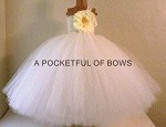 Ivory Flower Girl Tulle Dress with Big Ivory Flower