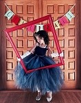 Navy Flower Girl Tutu Dress, Long Tulle Dress