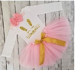 Girls Easter Tutu Outfit Pink and Gold