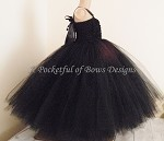 Black Flower Girl Dress with Shabby Flower Top