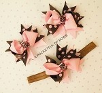 Pink and Brown Polka Dot Headband or Bow Clip