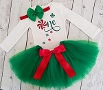 Christmas Birthday Outfit Baby Girl 1st Birthday Peppermint