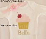 Pink and Gold Cupcake Birthday Top and Headband