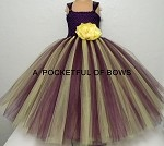 Eggplant Flower Girl Dress with Yellow Flower Toddler