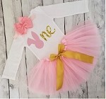 Easter 1st Birthday Tutu Outfit Pink and Gold
