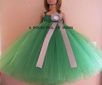 Kelly Green and Silver Flower Girl Dress Ball Gown