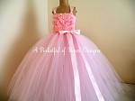 Flower Girl Dress Pink and Ivory with Shabby Flowers