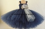 Navy flower girl tulle dress with silver flower