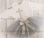 God Bless Christening Baptism Religious Tutu Outfit with Custom Name