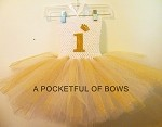 Gold and White Princess Birthday Tutu Dress with Glitter Crown