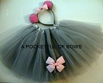 Gray Mouse Tutu Costume, Girls Halloween Mouse Ears and Tail