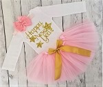 Happy New Years Baby Girls Tutu Outfit Pink and Gold
