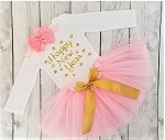 Happy New Years Tutu Outfit for Girls Pink and Gold