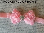 Chiffon Rose Bow Headband Pink