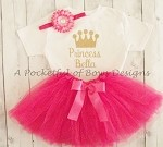 Hot Pink Princess Tutu Outfit with Custom Name (COPY)