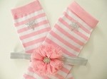 Pink Striped Girls Leg Warmers with Matching Headband
