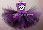 Monster Skull Tutu Dress Costume Purple and Black