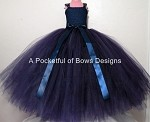 Navy Flower Girl Dress Ball Gown with Satin Bow