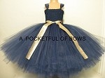 Navy and Glitter Gold Flower Girl Dress