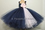 Navy and Pink Flower Girl Dress Toddler Ball Gown
