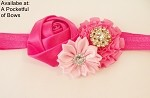 Hot Pink Headband with Rose and Gem Flowers