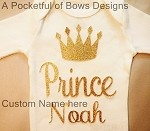 Prince Body Suit Baby Boy or Toddler Boy Tee with Name