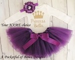 Purple Princess Tutu Outfit with Custom Name