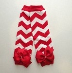 Red and White Chevron Leg Warmers