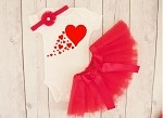 Scattered Hearts Valentine's Day Tutu Outfit for Girls
