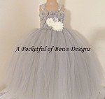 Silver Gray and Ivory Flower Girl Dress with Flower Bodice