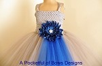 Silver and Royal Blue Flower Girls Ball Gown
