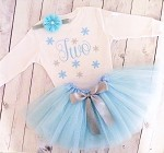 Snowflake Birthday Tutu Outfit in Blue and Silver