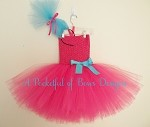 Pink Troll Tutu Dress Costume with Turquoise Hair