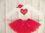 Valentines Day Tutu Outfit Baby and Toddler Girls Hearts and Custom Name