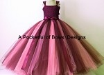 Burgundy Wine and Pink Flower Girl Tulle Dress