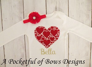 Girls Valentines Day Outfit, Red Hearts and Custom Name