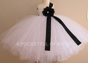 White Flower Girl Dress with Side Strap and Flower